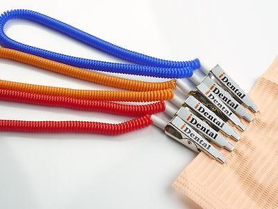 Us Seller 5pcs Coiled Dental Patient Bib Clip Orange
