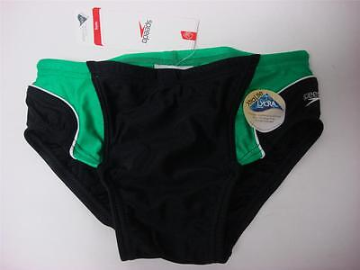 Youth 28 Boy's Speedo Lycra Racing Swimming Swim Brief suit bottom Black/Green