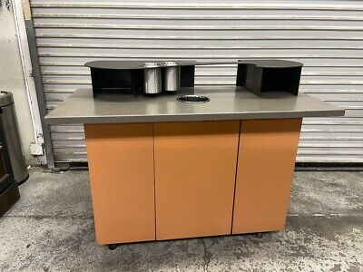 52 Coffee Creamer Cart Cafe Restaurant Prep Station Trash Waste Cabinet 4856