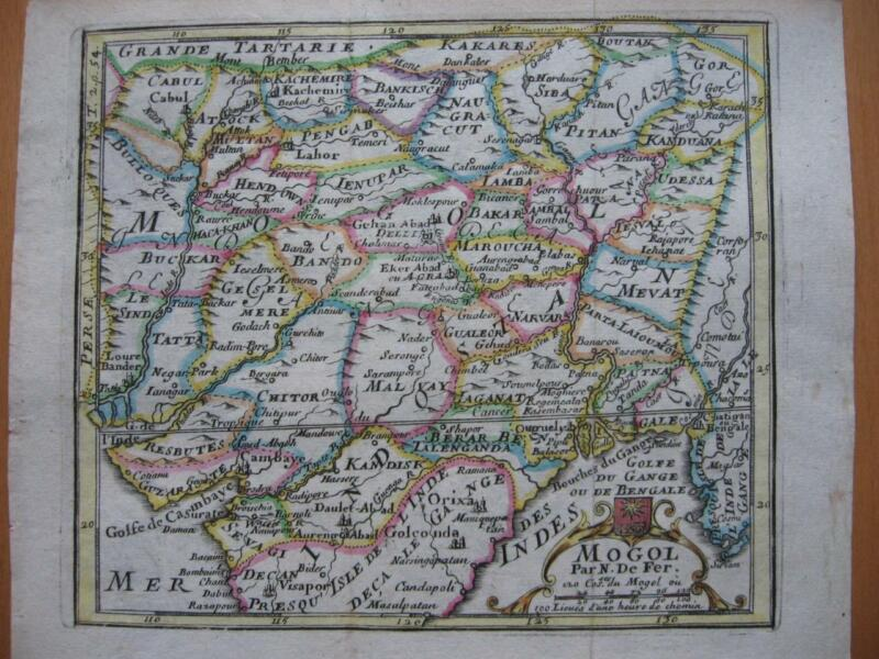 1689 - De FER - Small map MOGOL  NORTHERN INDIA