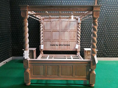 King Size Wood Poster (OAK WOOD Super King size 6' Raw Natural finish Four poster canopy Tudor Bed  )