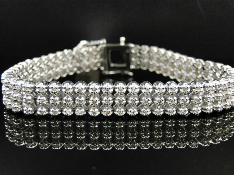 Mens 3 Row Toni 10k White Gold Genuine Diamond Bracelet Bangle 5.5 Ct
