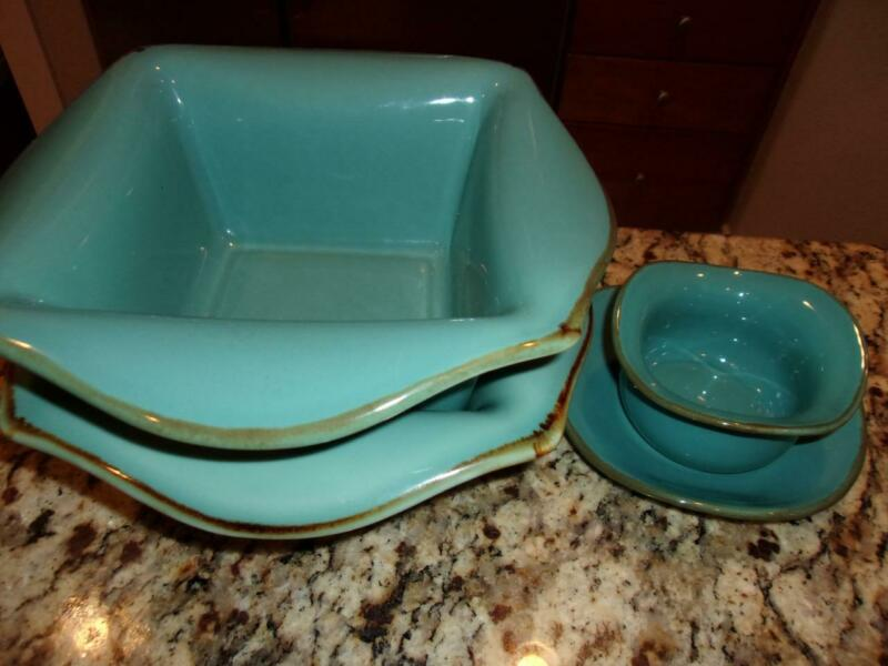 2 Southern Living at Home Tuscan Everyday Bakers + tidbit bowl & saucer mint cnd