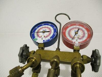 One Used Yellow Jacket Manifold Gauge And Hoses R-22404a410a