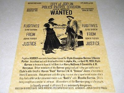 BONNIE & CLYDE  WANTED POSTER EXACT REPRODUCTION ON 24 LB PARCHMENT PAPER $3.49