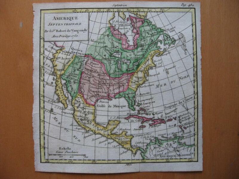 1750 - VAUGONDY - Small handcolored map  NORTH AMERICA