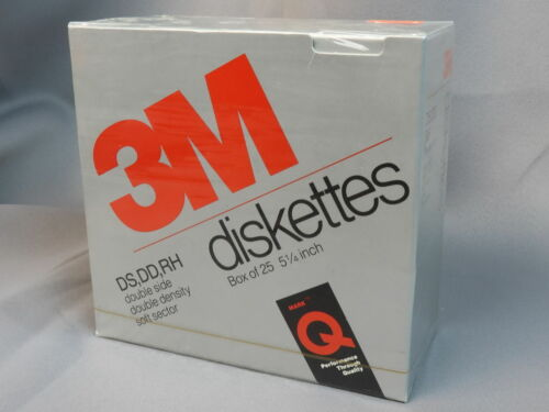 "3M 5 1/4"" DS DD RH floppy disk - new unopened box of 25"