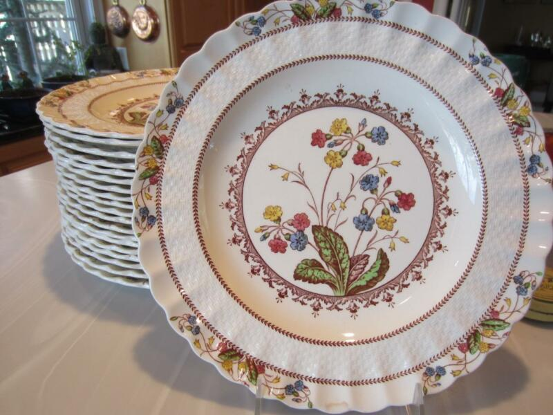 """2 SPODE COWSLIP DINNER PLATES 10½"""" Earthenware S713 Copeland England - Last Two!"""