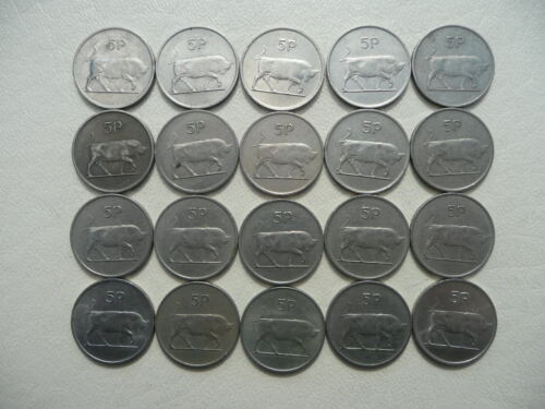 Lot of 20 Large Size Irish Five Pence Animal Coins of Ireland - Bulls
