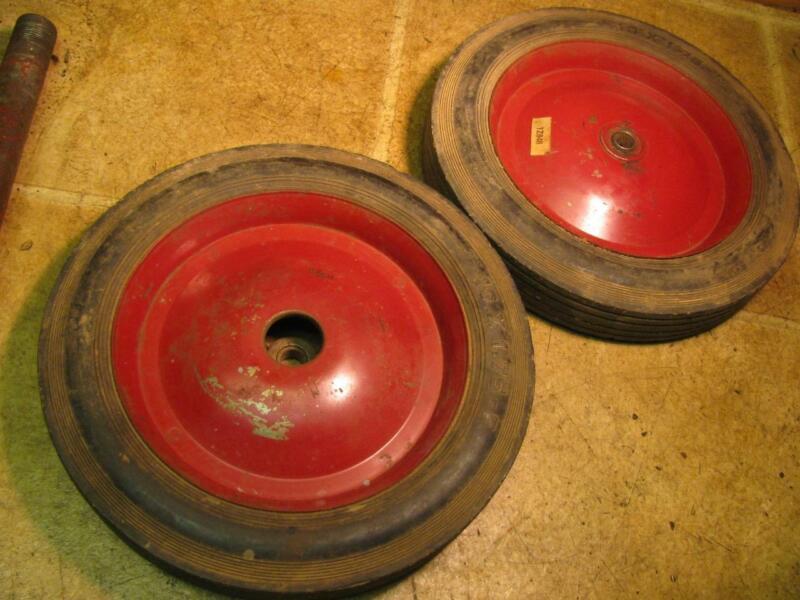 2) 10x1.75-F Hard Rubber Wheels Wagon Cart