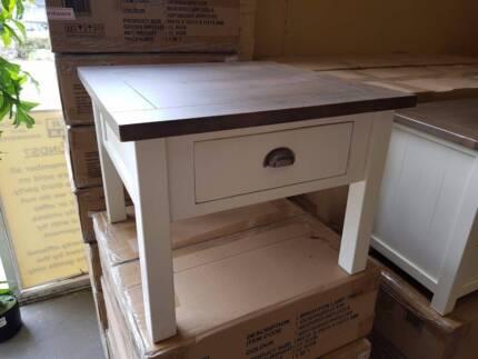 NEW BOXED! Brighton 1 drawer lamp side table white + dark timber!