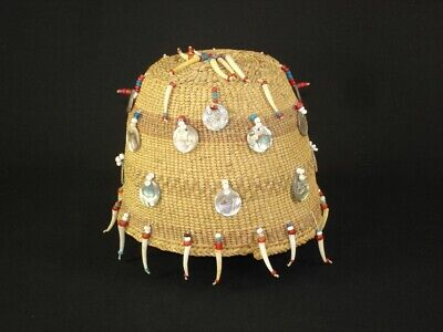 Very Rare Chehalis Indian Hat Basket w/ beads & shells, Native American c1915
