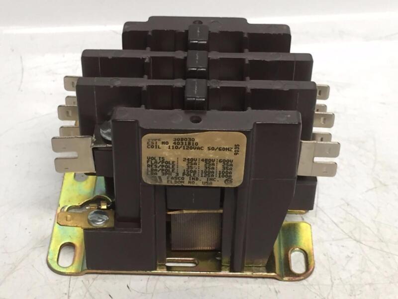 Fasco 30D030 Contactor 110/120 Volt Coil 3P 600V Good Used Industrial Surplus