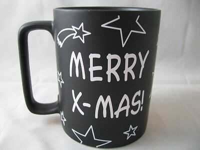 Merry X-MAS Mug Chalkboard Surface to Write On  Connect the Dots Message NEW ()