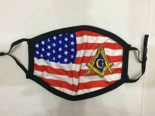 MASONIC MASTER MASON 4 LAYER FACE MASK Fraternity, MASONIC FACE MASK USA FLAG