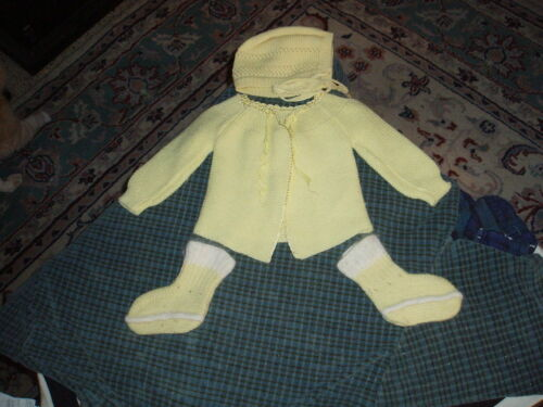 Vintage Yellow Knit Baby Sweater, Bonnet, and Booties Hand Made Cute !