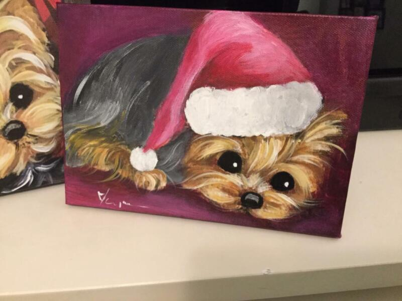 YORKIE  WITH SANTA HAT HAND PAINTED CANVAS ORIGINAL!