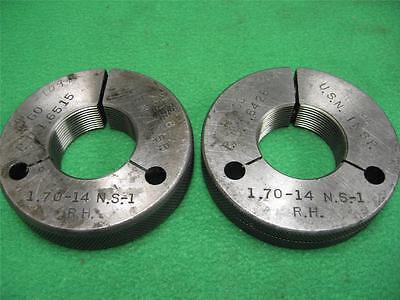 2 Go Nogo No Go Taft Pierce Thread Ring Gage Gauge 1.70-14 Ns-1 Rh 1.6515 1.6428
