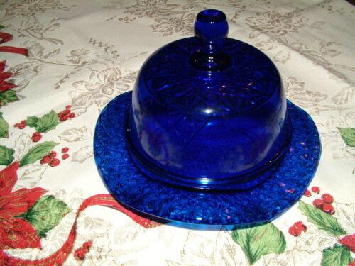 Butter Dish - Queen Pattern - Cobalt Blue Glass - Mosser USA