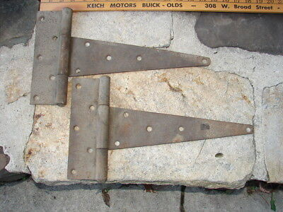 2 MASSIVE IRON RUSTIC HINGES T-STRAP BARN GARAGE SHED 14 3/4