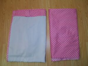 Two POTTERY BARN KIDS Bright Pink Fuchsia MINI DOT BLACKOUT PANELS 44 X 96