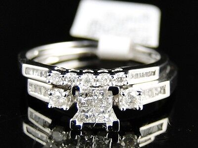 Women's Ladies White Gold Princess Cut Real Diamond Bridal Engagement Ring Set