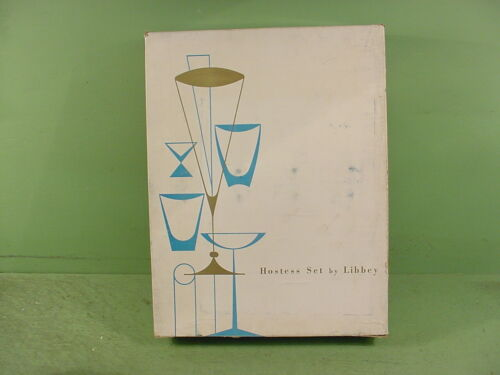 Vintage LIBBEY Set Of 8 Golden Foliage Frosted Pilsner Glasses~Hostess Set NIB