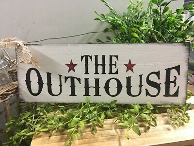 The Outhouse Country Bathroom decor wooden sign art with burgundy Barn Stars  Outhouse Bathroom Decor