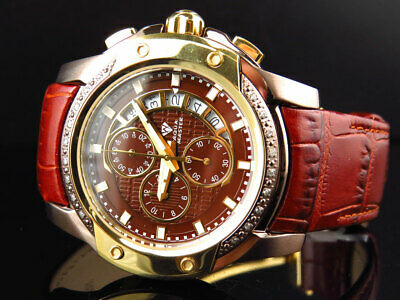 Mens Aqua Master Bronze Gold Finish Two Tone Diamond Watch 43mm W#347 0.25 Ct