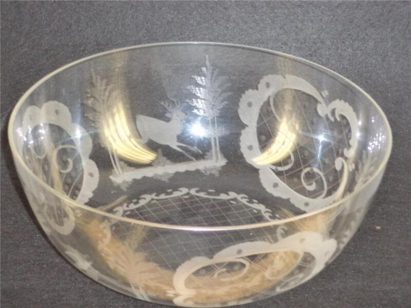 ANTIQUE BOHEMIAN CZECH EGERMANN ETCHED FIGURAL RARE COLORLESS GLASS BOWL 9
