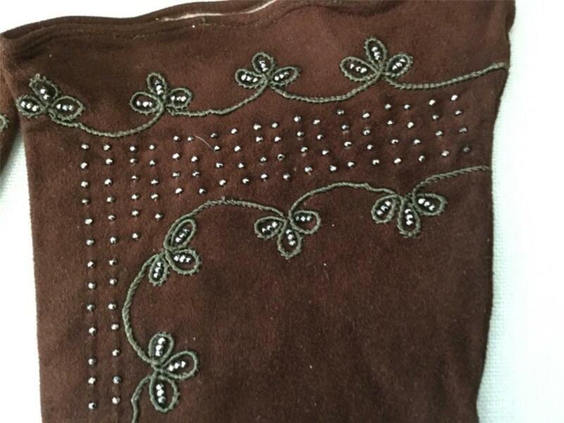 Vintage French Freddys Of Paris Brown Beaded Kidskin Suede Gloves Sz. 7 VGC
