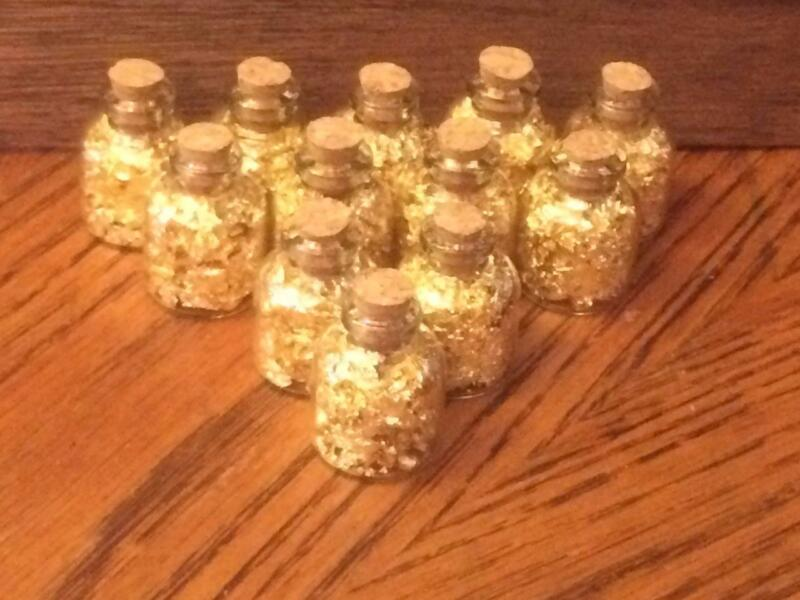 Gold Flakes in 4 ML Glass Wish Bottles With Cork (Lot of 12)