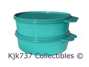 2 BRAND NEW AQUA GREEN TUPPERWARE BIG WONDERS CEREAL BOWLS ~2 CUP LARGE TAB SEAL