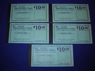 lot of 5 $10.00 Island Creek Company Store coal mine scrip coupons uncirculated](Party Store Coupons)