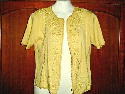 Pale Yellow Knit Sweater - Size M - by Worthington - Cotton Blend -Zipper Front
