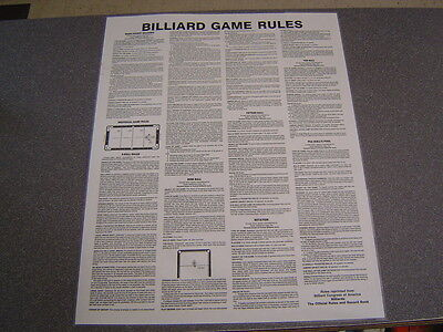 Billiards BCA Rules & Reg Laminated Poster. 7 Pool Games. LARGE 17.5 X 22.5