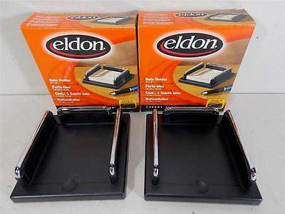 Lot Of 2 Brand New 3x3 Post-it Note Holders Eldon Chrome And Nuleather