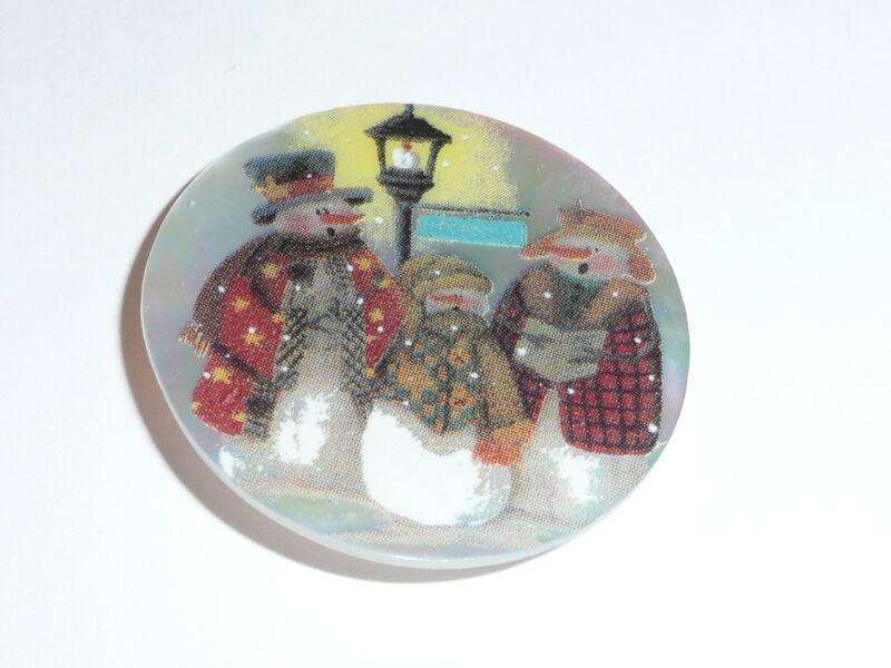 "Caroling Snowmen MOP Button on Mother of Pearl Shank Button 1-3/8"""