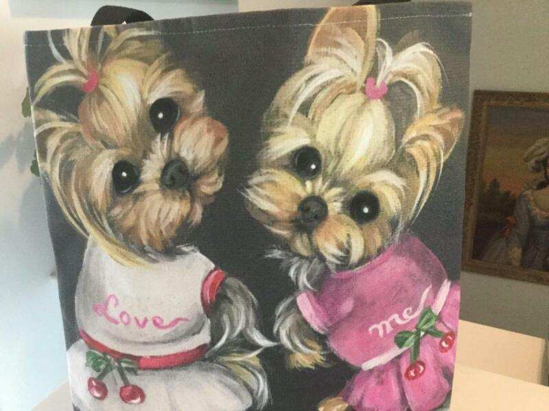 TWO YORKIES PRINTED TOTE FROM ORIGINAL PAINTING ONLY ONE TO OFFER
