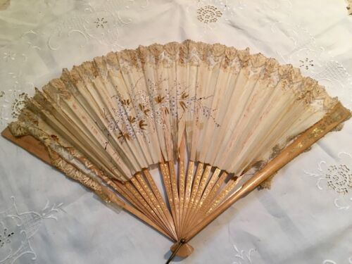Antique Hand Painted Ladies Fan late 1800