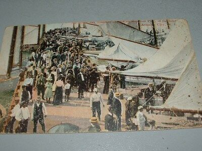 1914 Atlantic City, NJ Postcard, Boat Pier and Inlet view, people, boats