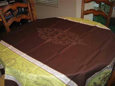 Toselli JACQUARD TABLECLOTH 63x79 French Provence FRANCE Leafy Chocolate NEW