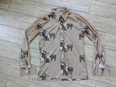 1970s Mens Shirt Styles – Vintage 70s Shirts for Guys 1970s vintage POLYESTER disco shirt MEDIUM tiger king lady AARON JAMES $29.95 AT vintagedancer.com