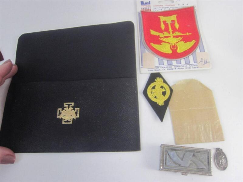 Masonic Shriners Vintage Memorabilia 5pc Lot Patches, Wallet, St Christopher,Box