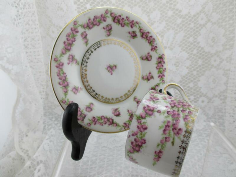 Vintage Charming Shabby Chic Demitasse Cup & Saucer~E.S Germany