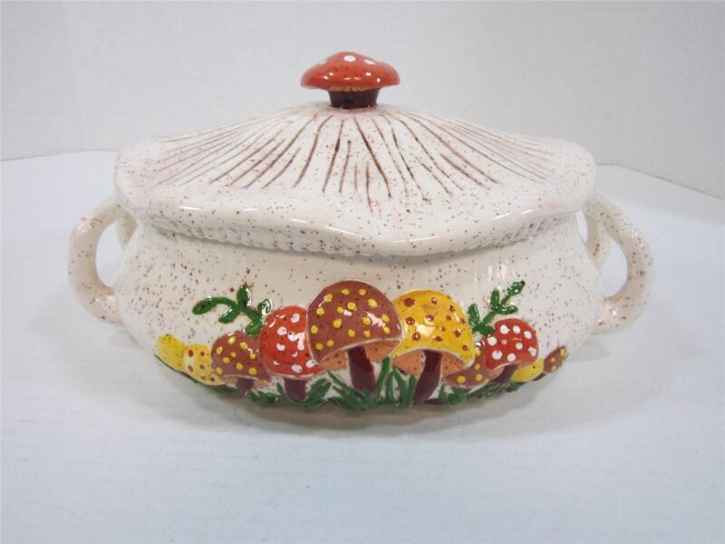 Vintage Mushroom Casserole With Lid Ceramic Raised Mushroom Design Serving Dish