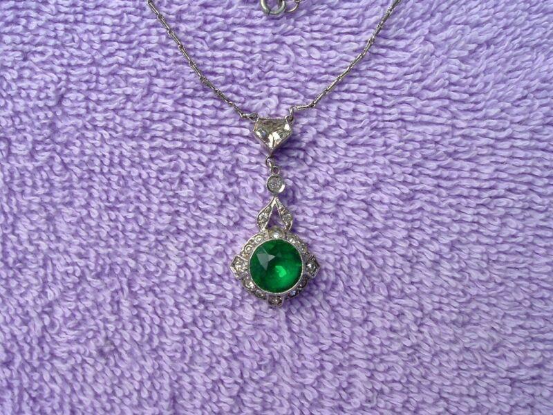 Vintage Antique Art Deco Sterling Silver Emerald Rhinestone Drop Necklace 1930s