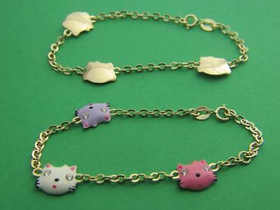 (Real 14k Yellow Gold Baby bracelet HELLO KITTY kids bracelet solid 14kt gold 5.5)