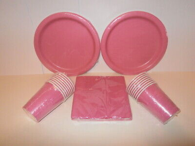 - Solid Colour Paper Plates, Cups and Napkins - 16 of each (Pink Party Cups)