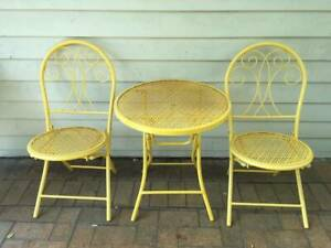 Yellow Metal Outdoor Setting - Table & 2 Chairs - Folding ...
